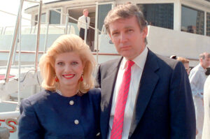 Real estate developer Donald Trump and his wife, Ivana, pose aboard their new luxury yacht The Trump Princess docked at the 30th Street pier on the East River in New York City, Monday, July 4, 1988. (AP Photo/Marty Lederhandler)